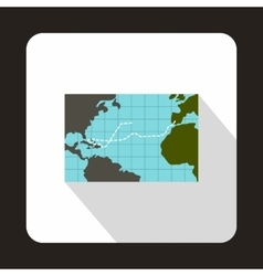 Christopher Columbus voyage map icon flat style vector