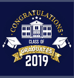 class 2019 badge on chalkboard concept vector image