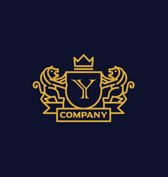 Coat of arms letter y company vector