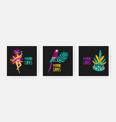 collection square mardi gras cards decorated by vector image
