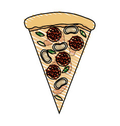 color crayon stripe cartoon slice pizza with vector image