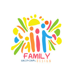 Colorful family logo design with mother father vector