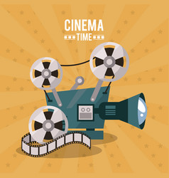 Colorful poster of cinema time with movie film vector