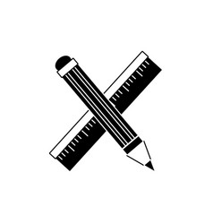 Contour ruler and pencil school tool education vector