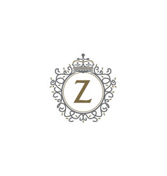 Crown leaf logo initial z vector