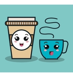 Cup coffee plastic facial expression isolated icon vector