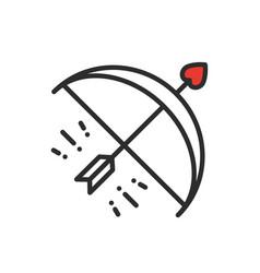 cupid bow arrow line icon happy valentine day vector image