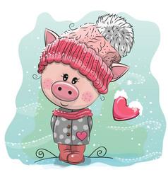 Cute cartoon pig in a knitted cap vector