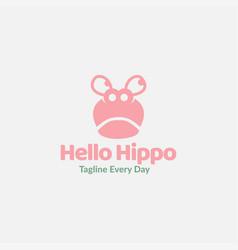 Cute head hippo or hippopotamus logo design vector