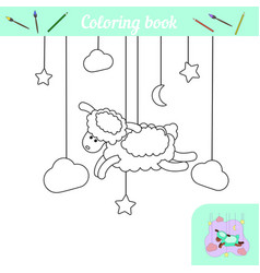 Cute lamb and stars coloring page with sample vector