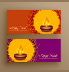 Diwali festival greeting banners background vector