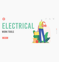 electrical work tools landing page template vector image