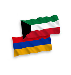 Flags armenia and kuwait on a white background vector