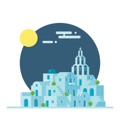 Flat design of Santorini Greece village vector image