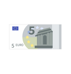 flat simple five euro banknote isolated on white vector image