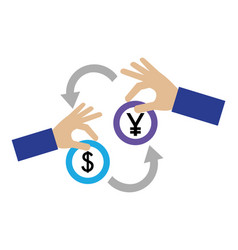 Foreign exchange hands with yen and dollar coins vector