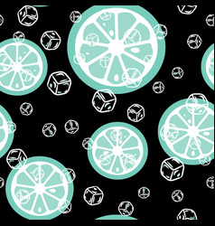 Fruit pattern with lemon and lime ice cubes vector