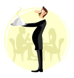 Funny waiter holding silver serving dome vector