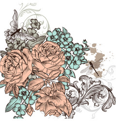grunge background with roses flowers for design vector image