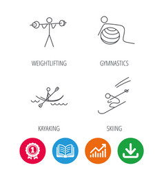 Gymnastics kayaking and skiing icons vector