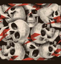 halftone skull seamless pattern vector image