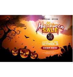 halloween sale banner with pumpkins vector image