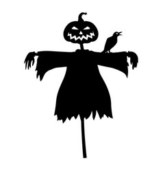 Halloween scarecrow with a head pumpkin and raven vector