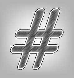 Hashtag sign pencil sketch vector