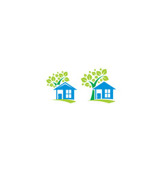 home tree greening icon logo vector image