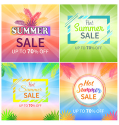 Hot summer sale up to 70 off promotional banners vector