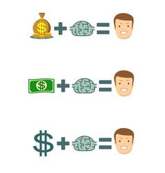 human brain and money vector image