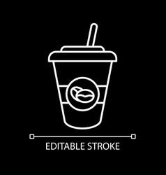 Ice latte white linear icon for dark theme vector