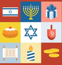 israel and hanukkah festival icons set vector image vector image