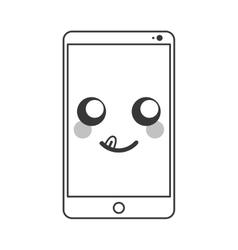 Kawaii cellphone icon vector