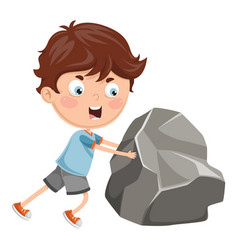 kid pushing vector image