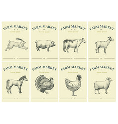 Labels with farm animals set templates price tags vector