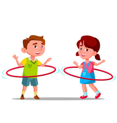 little boy and girl twirling colored huha hoops vector image