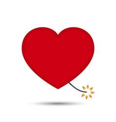 Love Heart Fire Cracker Design vector