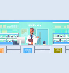 Male doctor pharmacist with clipboard standing at vector
