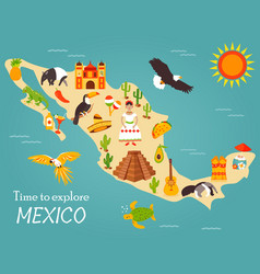 map of mexico with destinations animals landmarks vector image