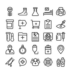 Medical health and hospital line icons 8 vector