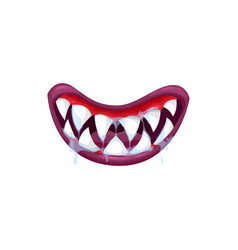 Monster mouth icon creepy jaws with sharp teeth vector