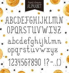 Narrow handdrawn font vector