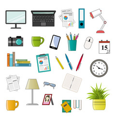 office icon set - vektor flat style vector image