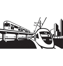 Overground rail transportation vector