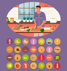 person cooking sticker food and drink vector image