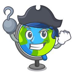 Pirate globe character cartoon style vector