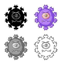 purple virus icon in cartoon style isolated on vector image