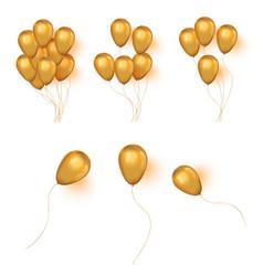 Realistic helium golden birthday bunch ballons vector