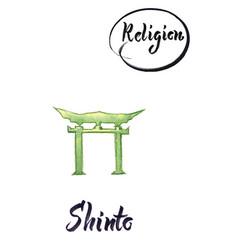religious sign-shinto vector image